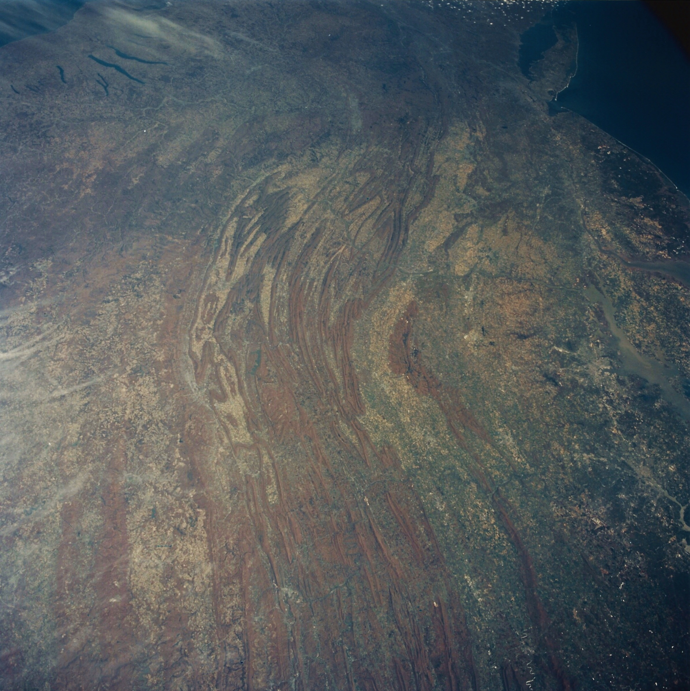 Endeavour's astronauts on the STS-59 crew took this image of the Appalachian Mountain chain, looking north. April 18, 1994. (NASA STS059-230-074)