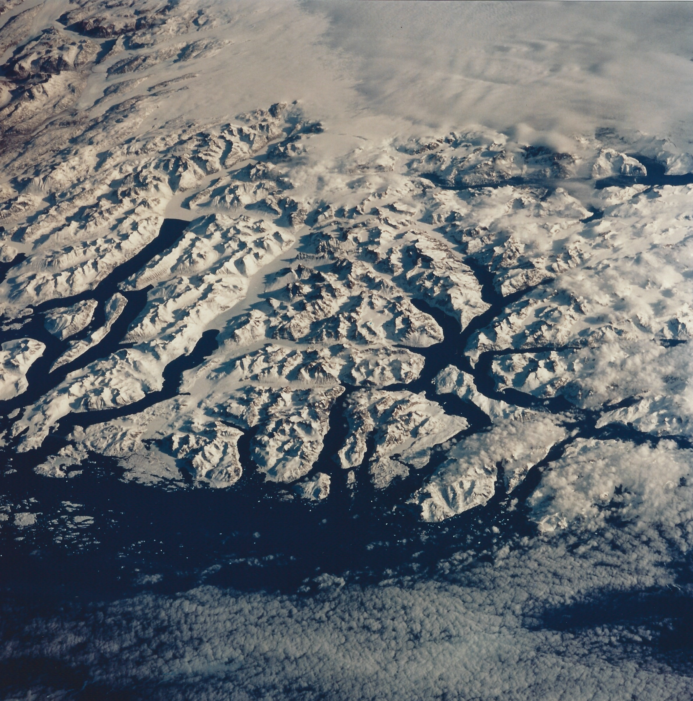 The Endeavour STS-59 crew took this photo of Cape Farewell, lower right, the southern tip of Greenland. April 16, 1994. (NASA STS059-224-021)