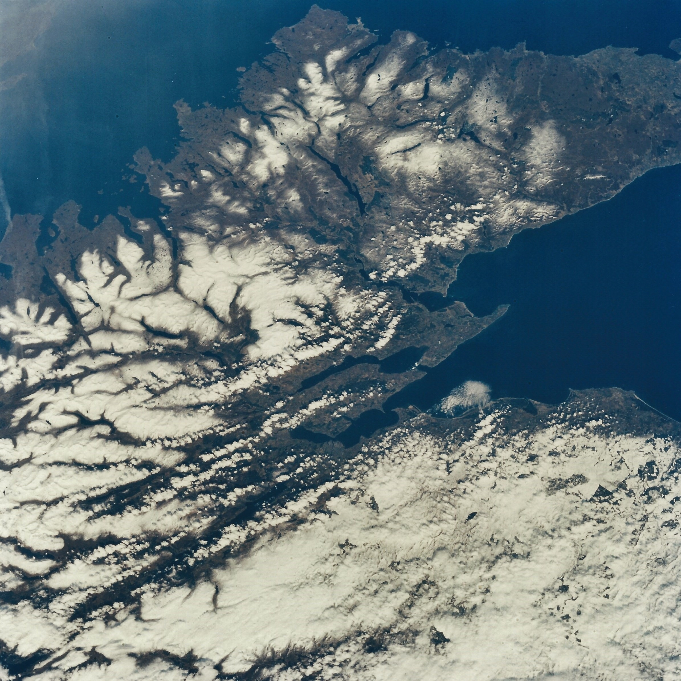 Inverness, Loch Ness, and northern Scotland from Endeavour, STS-59. April 10, 1994. Hasselblad 100mm. (NASA STS059-76-077)