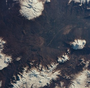 Mt. Ararat far right) in far eastern Turkey on the Armenian border. Shot from STS-59 Endeavour on April 4, 1994 with a 100mm Hasselblad. NASA STS059-201-094)