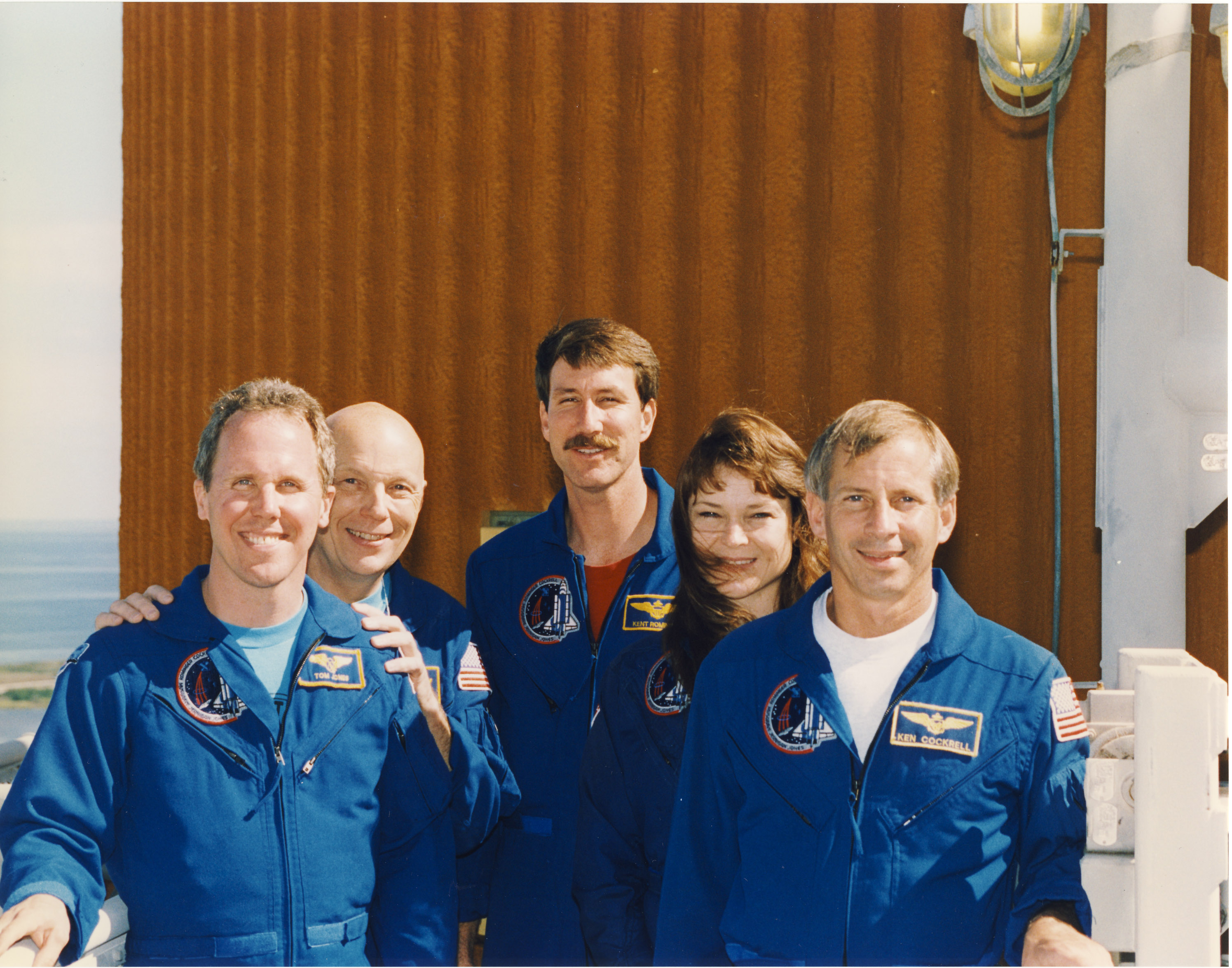 Our STS-80 crew at the Terminal Countdown Demonstration Test (TCDT) in late October 1996. Left to right: Jones Musgrave, Rominger, Jernigan, and Cockrell. We are standing on the ET hydrogen umbilical access arm, with the external tank in the background. (NASA)