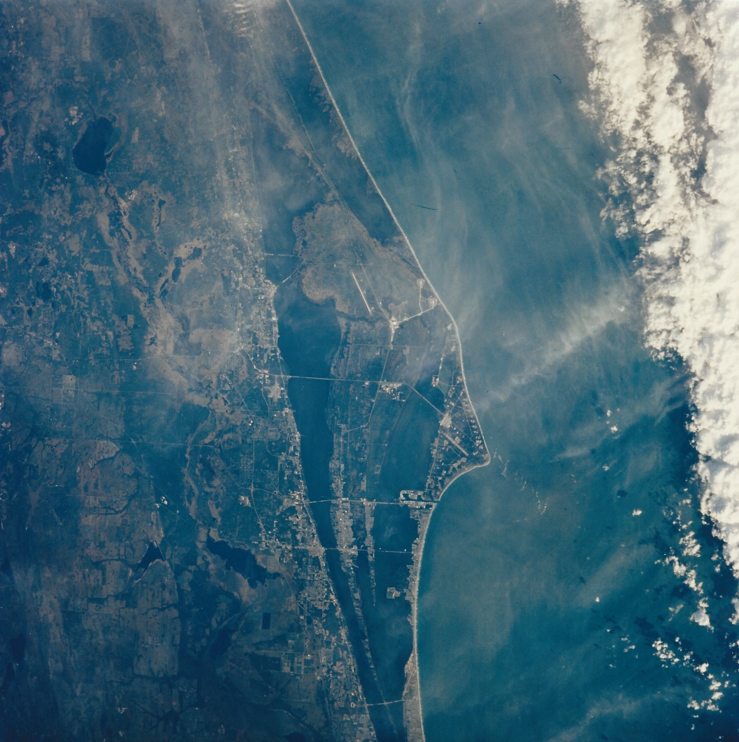 Cape Canaveral and Kennedy Space Center, from 185 nautical miles (NM), on Dec. 1, 1996. (NASA STS080-739-042)
