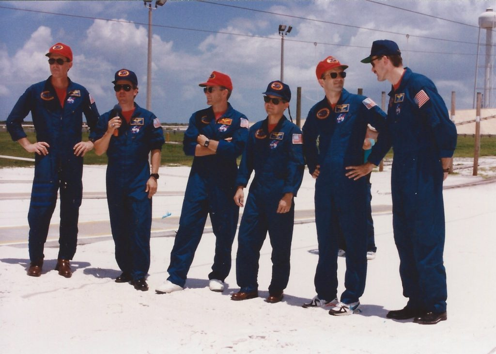 cf72148f53 Tom answers a TCDT press conference question with the STS-68 crew. Jul-Aug  94